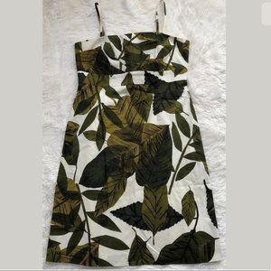 NY & Co. White w/Green Leaves Print Dress